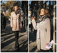 Женское двубортное кашемировое пальто с поясом и карманами. Цвета!