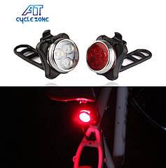 Габарит / передня фара USB «CYCLE ZONE» HJ-030 поліцейська діоди червоний + синій / білий