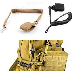 Непотеряйка / тренчик / шнур страховочный тактический витой с карабином и липучкой для оборудования / оружия
