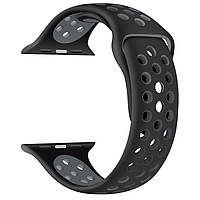 Силиконовый ремешок черный с серым Sport Nike+ Band для умных смарт часов Apple watch 42/44 mm