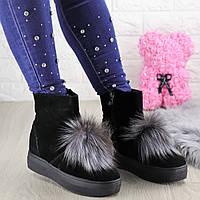 Женские зимние ботинки с мехом Kelly черные 1407