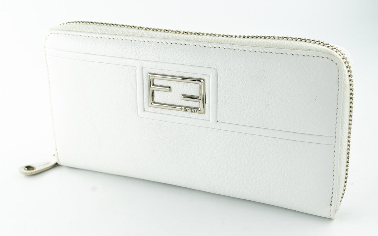 Стильный женский кожаный клатч Fran Diar  белого цвета с серебристой молнией (FD087-011С)