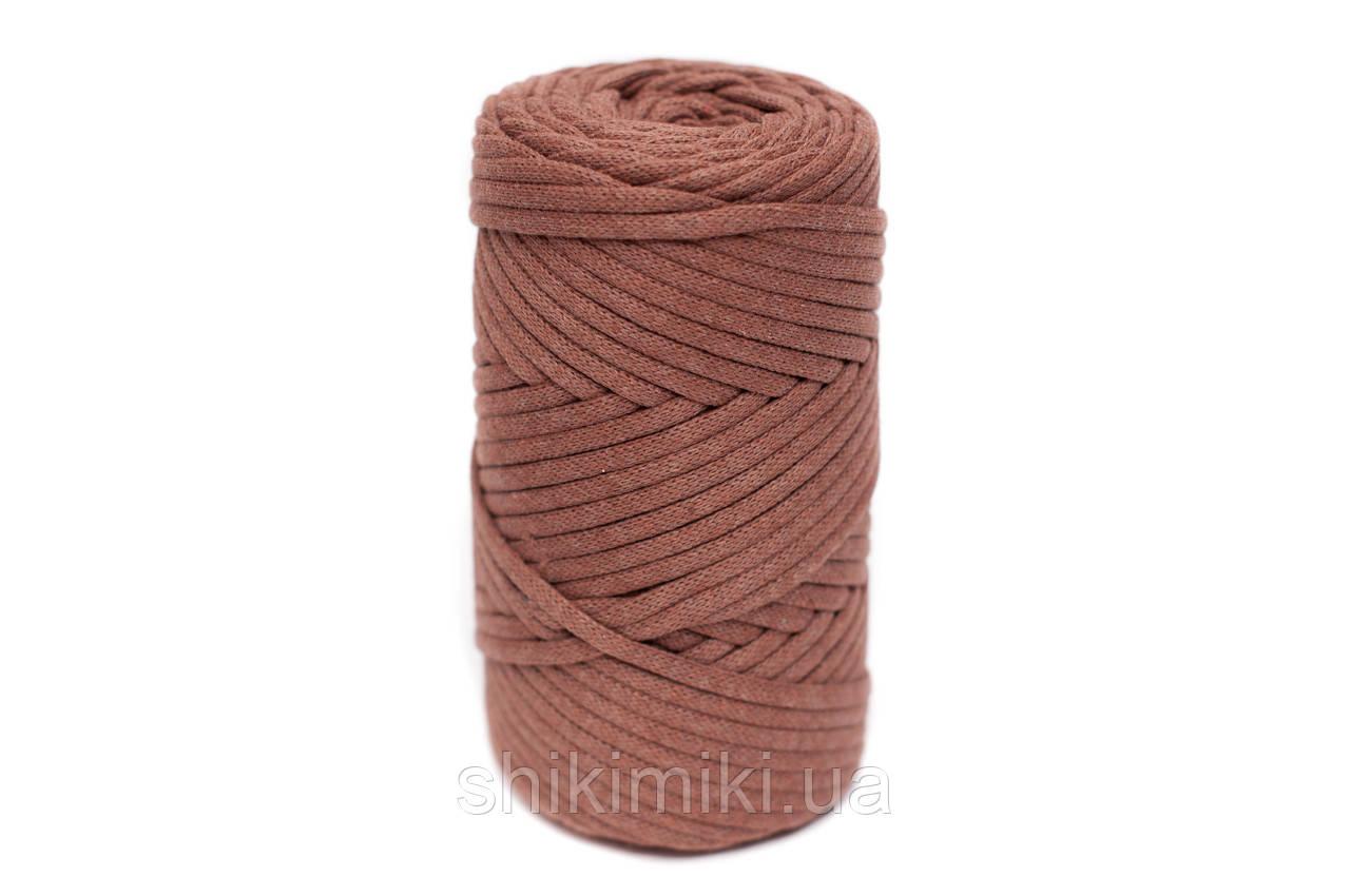 Трикотажный хлопковый шнур Cotton Filled 5 мм, цвет Корица
