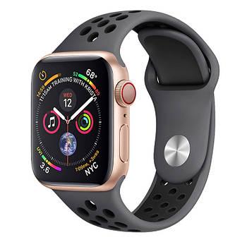 Силиконовый черный ремешок Sport Nike+ Band для умных смарт часов Apple watch 42/44 mm