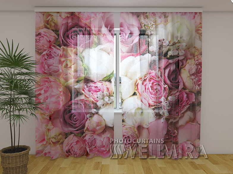 Тюль с рисунком Розовая мечта 250 см х 260 см