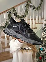 Мужские женские кроссовки Adidas Ozweego Black рефлективные