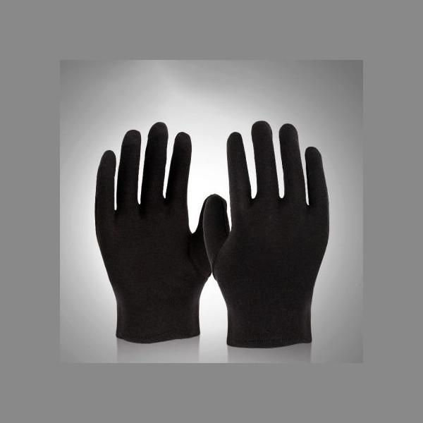 Чёрные хлопчатобумажные 100% перчатки (размер L).