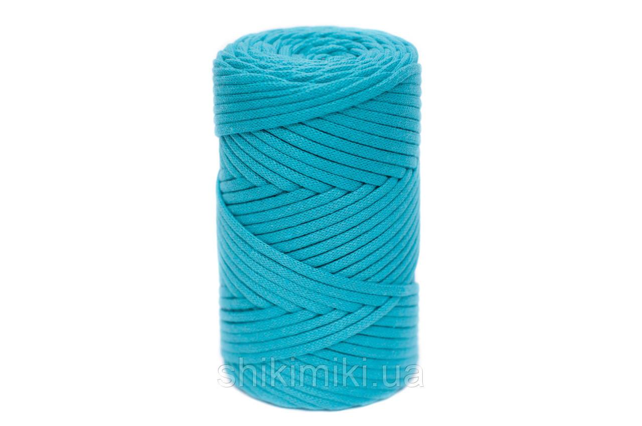 Трикотажный хлопковый шнур Cotton Filled 5 мм, цвет Бирюзовый