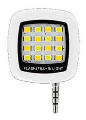 Селфи LED светодиодная подсветка / вспышка USB зарядка для смартфона с 3.5 мм jack БЕЛЫЙ