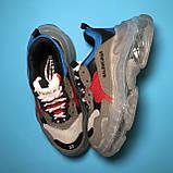 Кросівки Balenciaga Triple S Grey Red Blue, фото 3