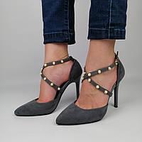 Женские замшевые туфли на каблуке со стразами, серые