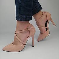 Женские замшевые туфли на каблуке, бежевые