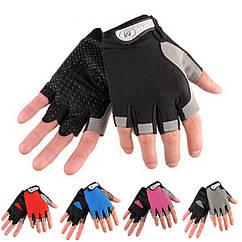 Велосипедные / спортивные беспалые перчатки HUWAI лёгкие вентилирующиеся / с махровой вставкой / р-ры S - XL