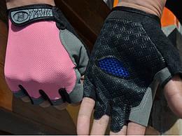 Велосипедные / спортивные беспалые перчатки HUWAI лёгкие вентилирующиеся / с махровой вставкой / р-ры S - XL РОЗОВЫЙ, M