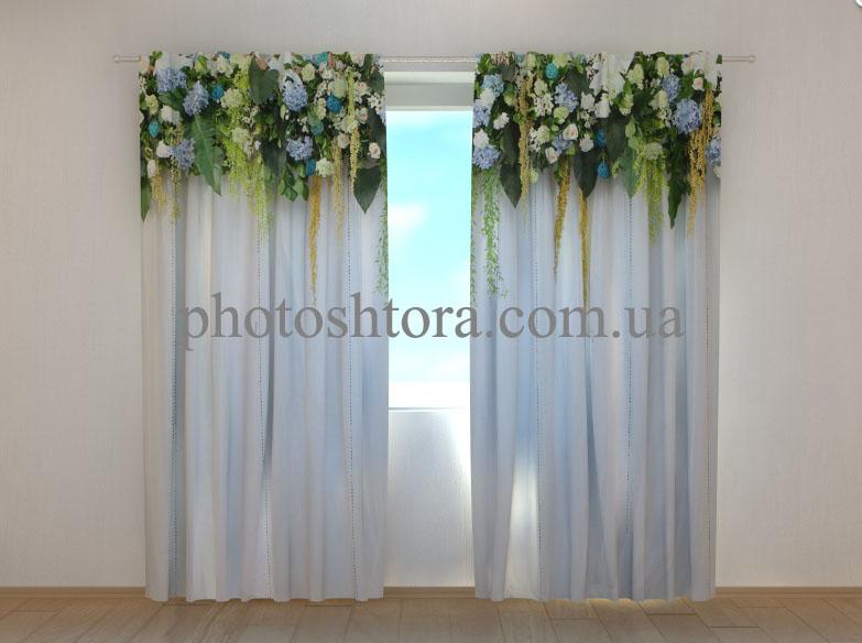 """Фотошторы """"Ламбрекени з квітів. Блакитні небеса"""" 250 х 260 см"""