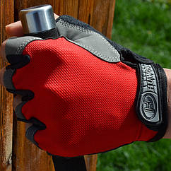 Велосипедные / спортивные беспалые перчатки HUWAI лёгкие вентилирующиеся / с махровой вставкой / р-ры S - XL КРАСНЫЙ, XL
