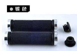 Гріпси / ручки вело м'які силіконові 22.2 мм з рифленням / чіпкою накаткою, з двома АЛЮ замками і заглушками ХРОМ