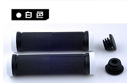 Гріпси / ручки вело м'які силіконові 22.2 мм з рифленням / чіпкою накаткою, з двома АЛЮ замками і заглушками БІЛИЙ