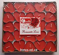 Свеча чайная свеча таблетка сердце 50 штук красные