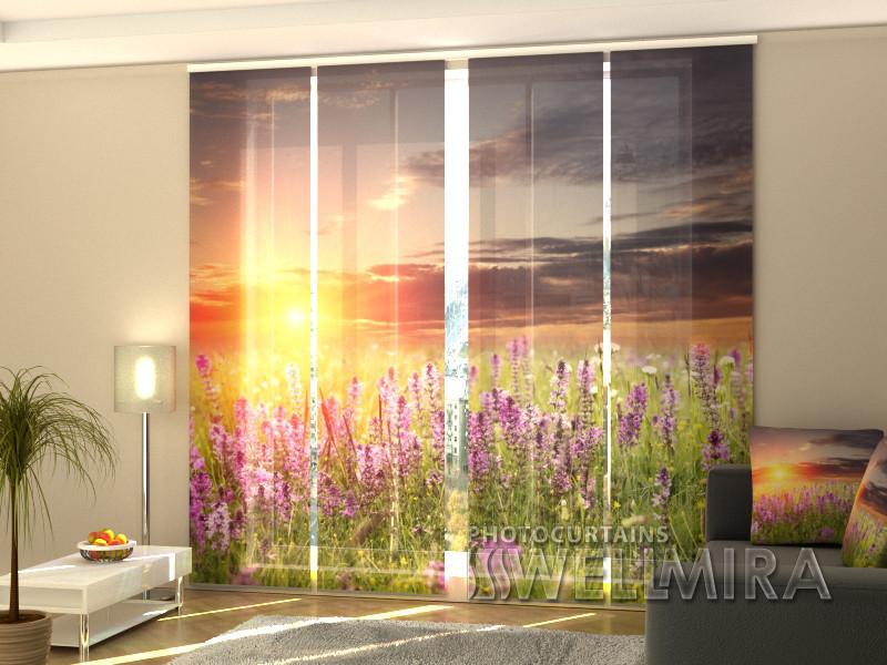"""Панельні Фотошторы """"Захід сонця над лугом"""" 240 х 240 см"""