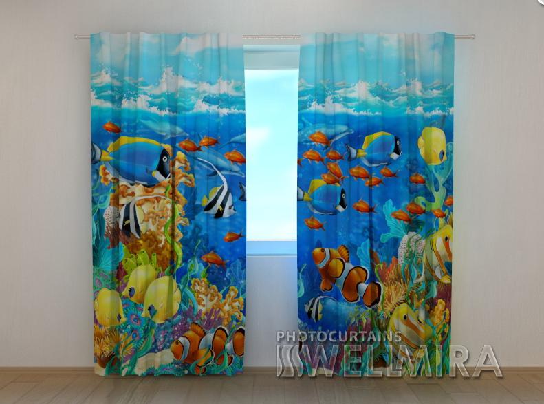 """Фотошторы """"Яскраві рибки"""" 250 х 260 см"""