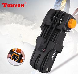 """Протиугінний секційний стрічковий велозамок TONYON TY 3876-B з кодом і """"кобурою"""" для зберігання на вело-рамі ЧОРНИЙ"""