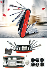 Набор вело-инструмента / мультитул / рем-комплект 17-в-1 (ВСЁ-в-1) BOY 8050: тул, выжимка цепи, заплатки