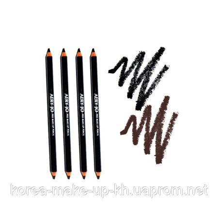 Карандаш для век и бровей AERY JO Pro Make Up Pencil   BLACK+BROWN, фото 2