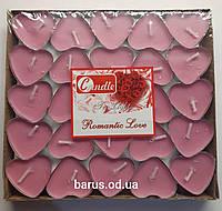 Свеча чайная свеча таблетка сердце 50 штук розовые
