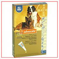 Капли Адвокат для Собак на 25-40 кг (Advocate) от блох и клещей (3 пипетки по 4,0 мл)