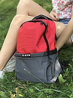 Женский стильный рюкзак, серый с красным