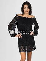 Платье гипюр черный
