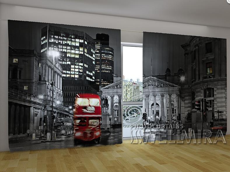 """Панорамные Фотошторы """"Лондон и красный автобус"""" 270 х 500 см"""
