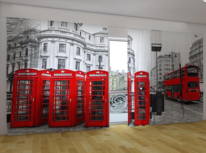 """Панорамные Фотошторы """"Лондонский автобус"""" 270 х 500 см"""
