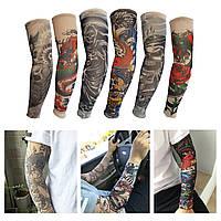 Рукава чулки нарукавники вело / спортивные с татуировками тату на руки / ноги от солнца / «колхозного» загара