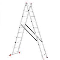 Лестница алюминиевая 2-х секционная универсальная раскладная 2*10ступ. 4.81м Intertool LT-0210