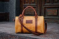 Коричневая женская дорожная сумка, Кожана спортивная сумка - саквояж