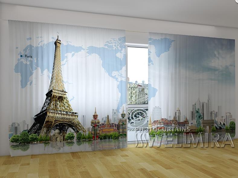 """Панорамні Фотошторы """"Карта світу"""" 270 х 500 см"""