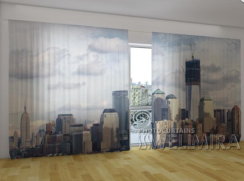"""Панорамні Фотошторы """"Срібне місто"""" 270 х 500 см"""
