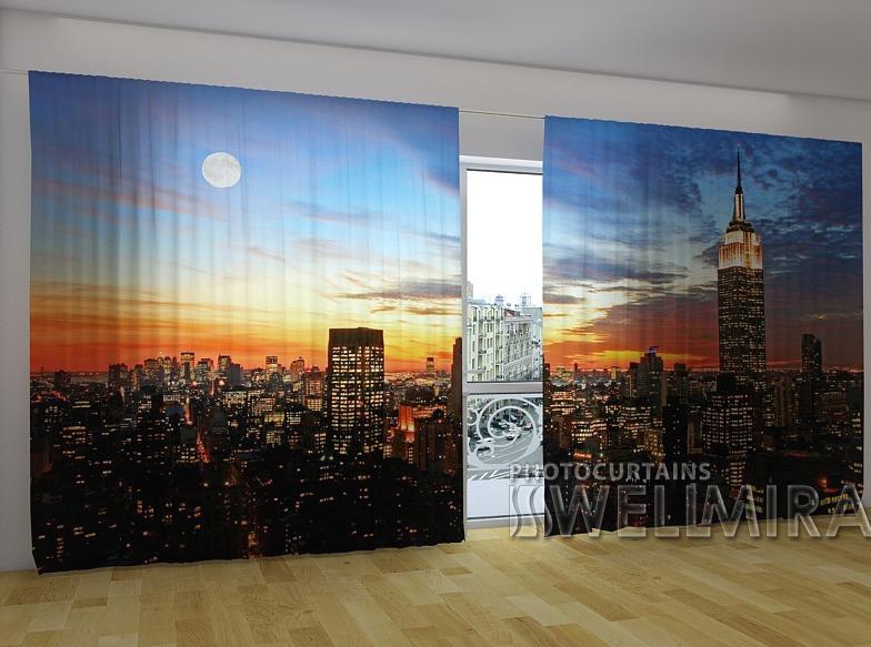 "Панорамные Фотошторы ""Восход солнца в Нью-Йорке"" 270 х 500 см"