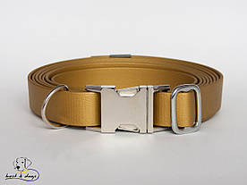 Ошейник из биотана, Золотой, 19мм(метал.фастекс)