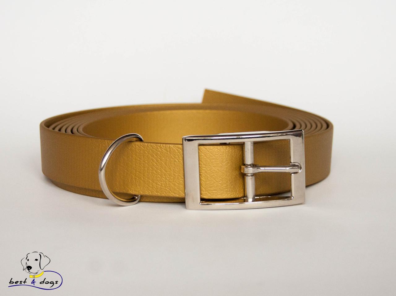 Ошейник из биотана, Золотой, 25мм(метал.фастекс)