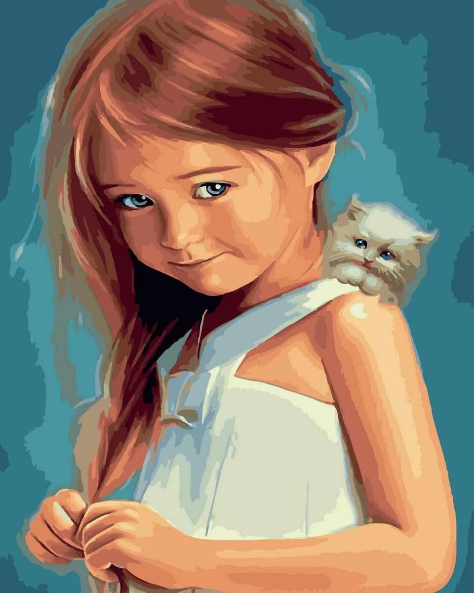 Картина по Номерам 40x50 см. Стисняшка с котёнком BrushMe