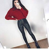 Женские тёплые кожаные лосины, фото 1