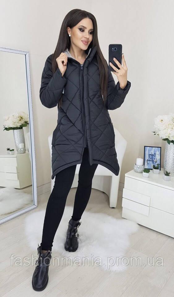 Куртка женская зимняя чёрная, белая Чёрный, 44-46