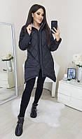 Куртка женская зимняя чёрная, белая Чёрный, 42-44