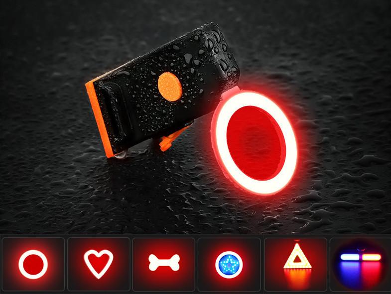 """Підсідельна вело мигалка / габарит у вигляді фігур (одно-/дво-кольорові) USB зарядка / COB діоди ТМ """"JAKROO"""""""