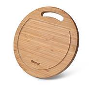 Разделочная доска Fissman бамбуковое волокно круглая 28 см 8778
