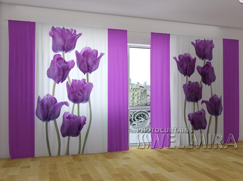 """Панорамні Фотошторы """"Вальс тюльпанів"""" 270 х 500 см"""