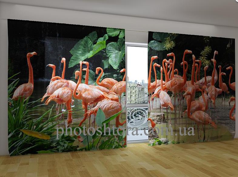 "Панорамные Фотошторы ""Розовые фламинго"" 270 х 500 см"